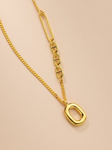Gold 925 Sterling Silver Bead Chain Hollow Geometric Vintage Necklace