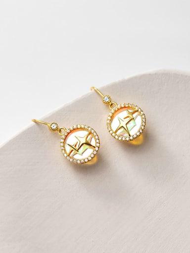 925 Sterling Silver Shell Oval Minimalist Hook Earring