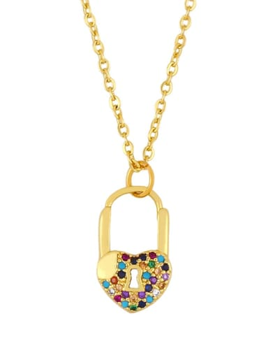 Peach heart key Alloy Cubic Zirconia Key Vintage Necklace