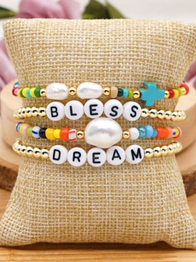 Package price QT s200014 Stainless steel MGB  Bead Multi Color Letter Bohemia Stretch Bracelet