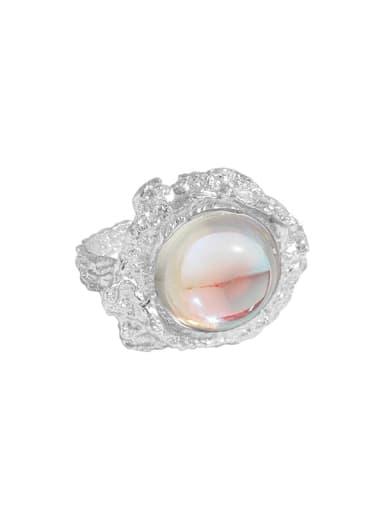 925 Sterling Silver Zircon Irregular  Moon stone Vintage Band Ring