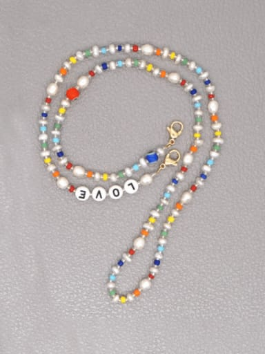 Stainless steel Imitation Pearl Multi Color Letter Bohemia  Hand-woven Necklace