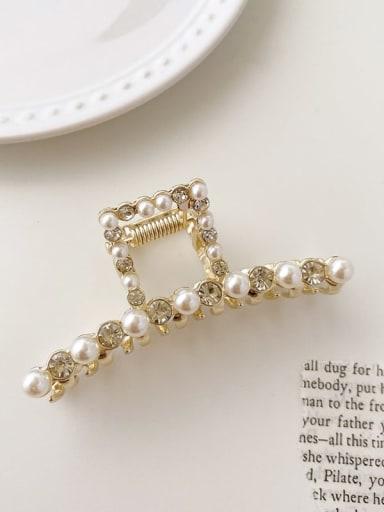 T-shaped Rhinestone Pearl 7.5cm*3cm Alloy Imitation Pearl Minimalist Geometric  Jaw Hair Claw