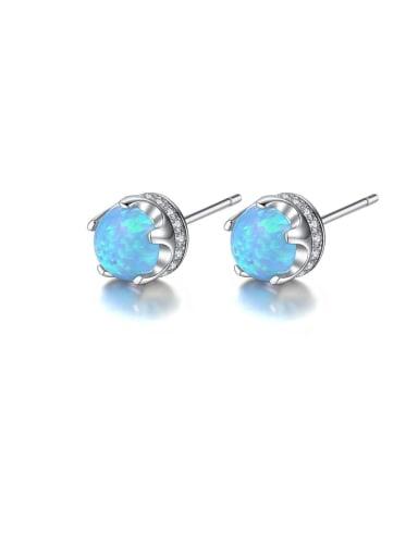 925 Sterling Silver Opal Geometric Trend Stud Earring