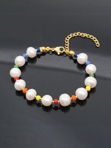 Stainless steel Freshwater Pearl Multi Color Round Bohemia Beaded Bracelet