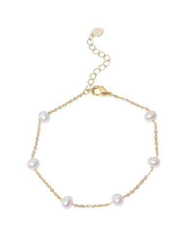 Brass Freshwater Pearl Round Minimalist Link Bracelet