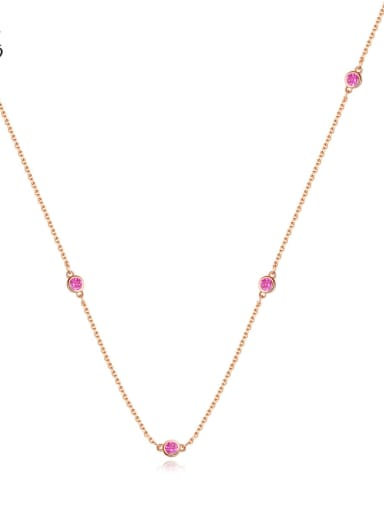 Copper Cubic Zirconia  Minimalist China Long Strand Necklace