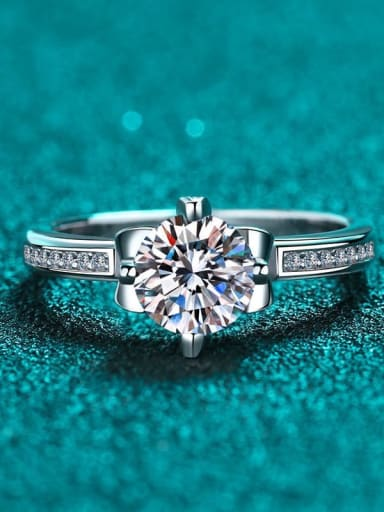 Sterling Silver Moissanite  Dainty Solitaire Flower Engagement Rings