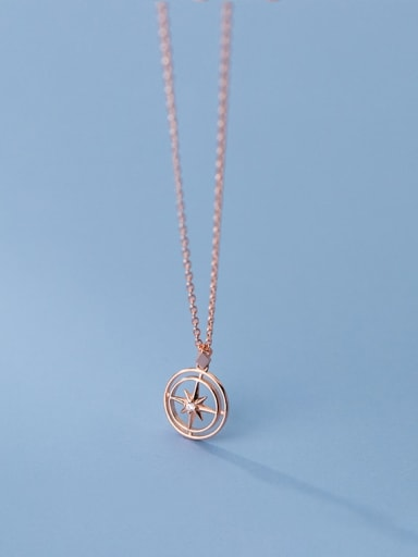 rose gold 925 Sterling Silver Cubic Zirconia Letter Minimalist Necklace