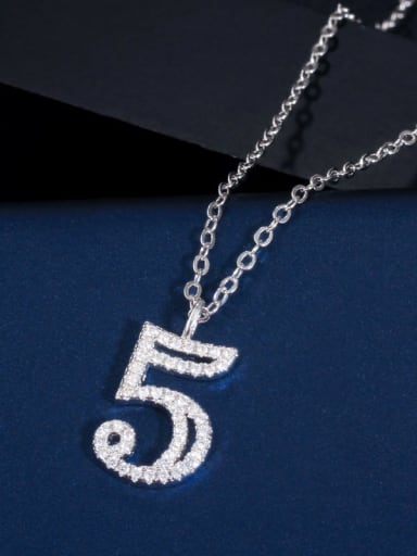 5 (including chain) Copper Cubic Zirconia Number Dainty Necklace
