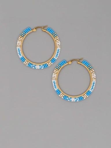 MI E200094C Stainless Steel Multi Color Miyuki Beads Geometric Bohemia Pure Handmade Earring