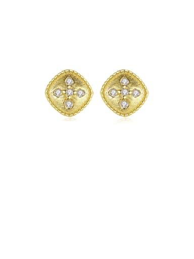 925 Sterling Silver Rhinestone Geometric Dainty Stud Earring