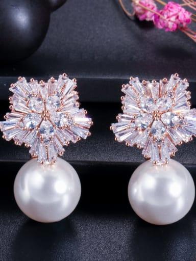 White Pearl Rose gold ear needle Brass Cubic Zirconia Flower Luxury Drop Earring