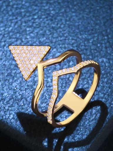golden Brass Cubic Zirconia Triangle Statement Cocktail Ring