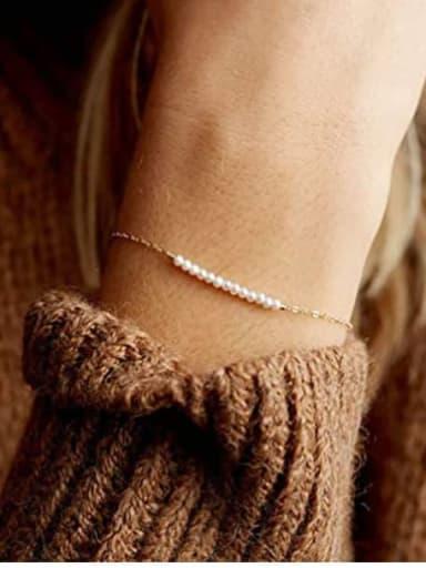 Stainless steel Imitation Pearl Geometric Minimalist Link Bracelet