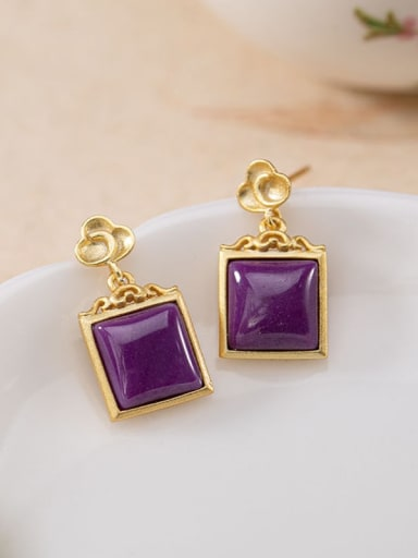 Earrings (gold) 925 Sterling Silver Tourmaline Vintage Square Pendant