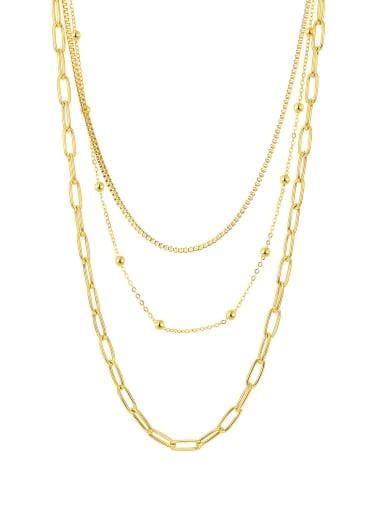2044 gold necklace Titanium Steel Geometric Minimalist Multi Strand Necklace