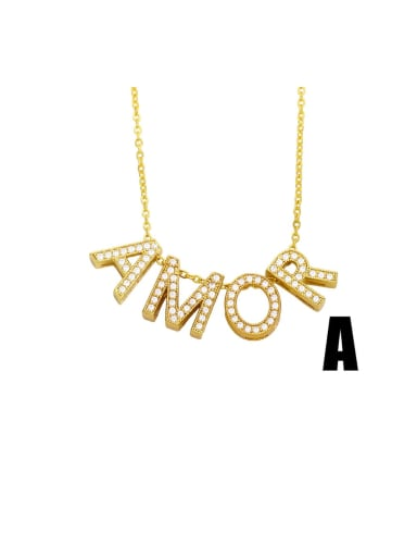 Brass Cubic Zirconia Simple LOVE letters Necklace