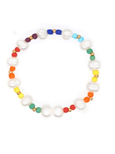 Stainless steel Freshwater Pearl Multi Color Irregular Bohemia Stretch Bracelet