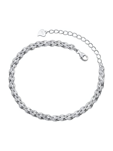 sliver 925 Sterling Silver Irregular Minimalist Link Bracelet