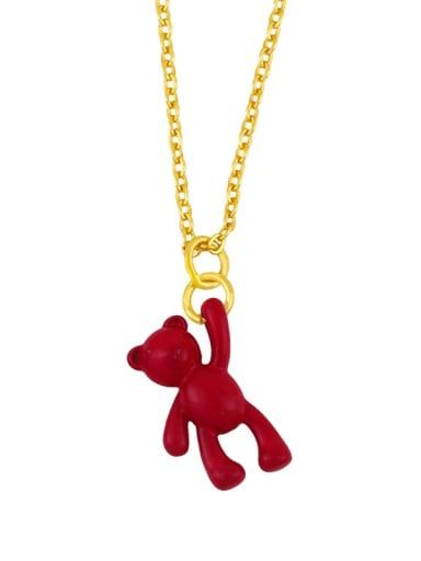 gules Brass Multi Color Enamel  Cute Bear Pendant Necklace