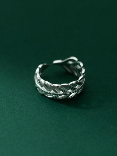 925 Sterling Silver Leaf Vintage Band Ring