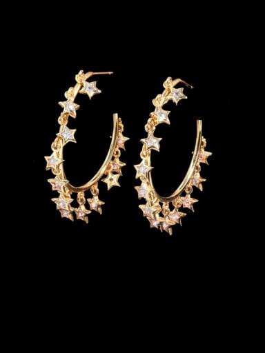 Golden white Brass Cubic Zirconia Geometric Luxury Huggie Earring