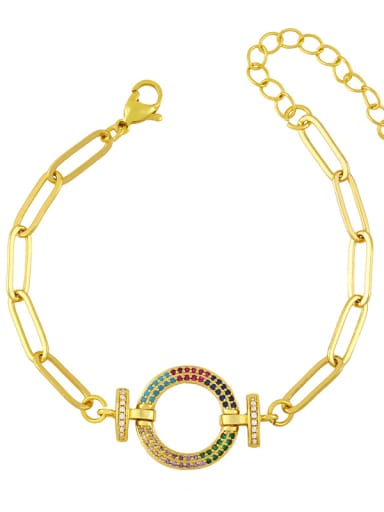 Brass Cubic Zirconia  Hollow Star Vintage Link Bracelet