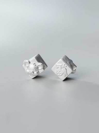 S999 4# 925 Sterling Silver With Geometric Zodiac Rat Beads  DIY Jewelry Accessories