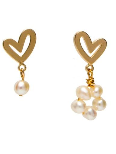 Brass Freshwater Pearl Heart Minimalist Drop Earring