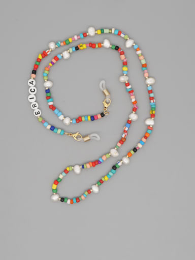 Stainless steel Imitation Pearl Multi Color Acrylic Letter Bohemia  Hand-woven Necklace