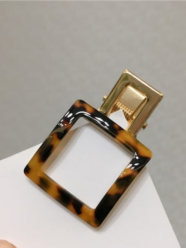 Square tortoise shell Alloy Cellulose Acetate Minimalist Geometric Hair Barrette
