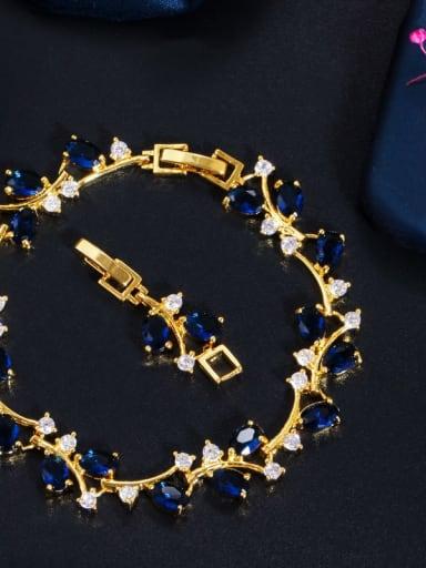 Golden Blue Copper Cubic Zirconia Leaf Luxury Bracelet