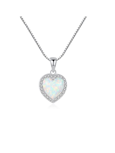 925 Sterling Silver Opal Multi Color heart Necklace