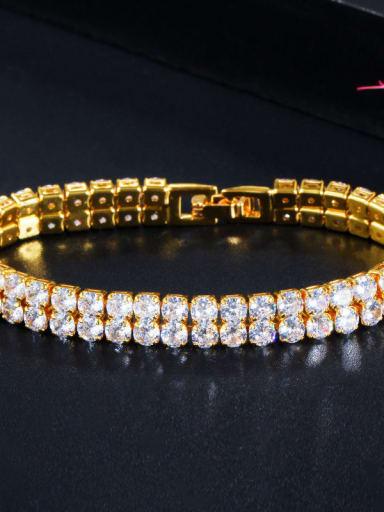 Golden white Copper Cubic Zirconia Geometric Dainty Bracelet
