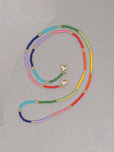 MI N200046A Stainless steel  Miyuki Bead Multi Color Bohemia Hand-woven Necklace