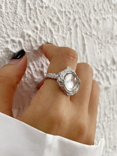 925 Sterling Silver Opal Oval Vintage Band Ring