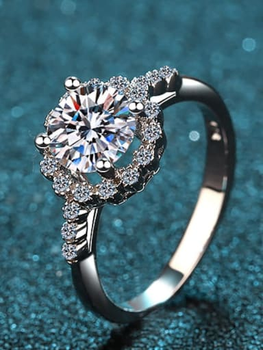 Sterling Silver Moissanite White  Engagement Rings