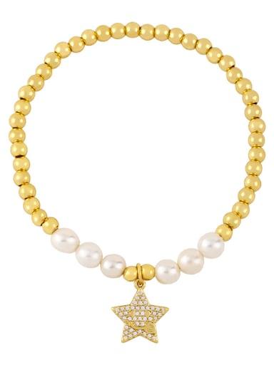 Brass Imitation Pearl Star Vintage Beaded Bracelet