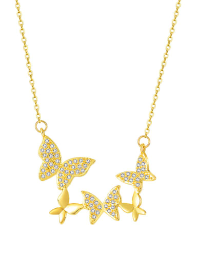 Titanium Steel Cubic Zirconia Butterfly Minimalist Necklace
