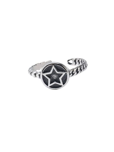 925 Sterling Silver Enamel  Vintage Simple star round card twist texture Band Ring