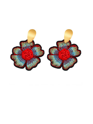 gules Alloy Resin Flower Ethnic Drop Earring