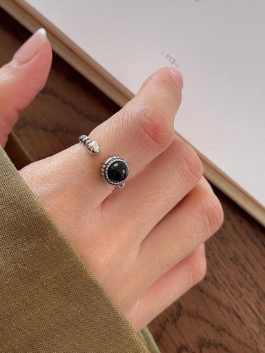 Wave point agate ring J67 3.4g 925 Sterling Silver Carnelian Irregular Vintage Band Ring