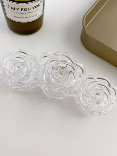 Transparent 10.8cm Alloy Resin Trend Hollow Flower  Jaw Hair Claw