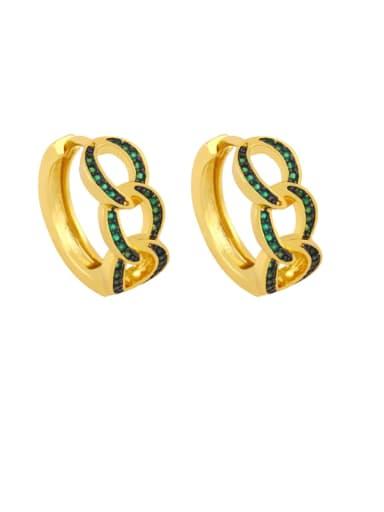 green Brass Cubic Zirconia Geometric Bohemia Stud Earring