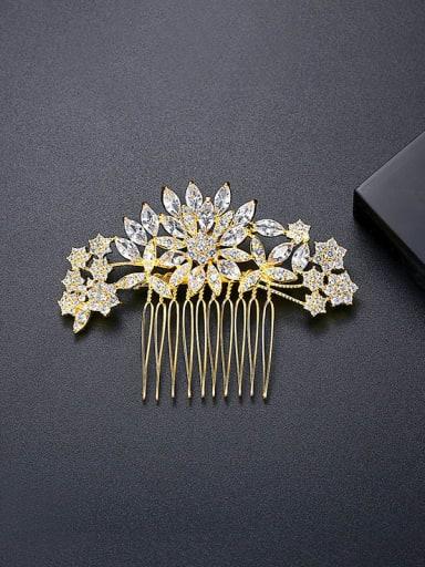 18k GOLD Brass Cubic Zirconia Trend Flower Hair Comb