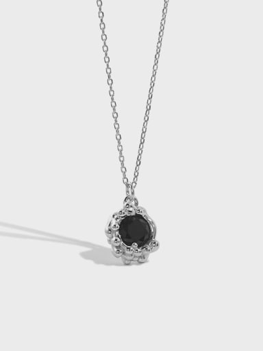 925 Sterling Silver Cubic Zirconia Oval Vintage Necklace