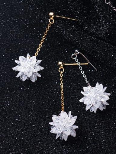 925 Sterling Silver Imitation Crystal Flower Hip Hop Threader Earring