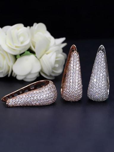 Brass Cubic Zirconia Geometric Luxury Stud Earring