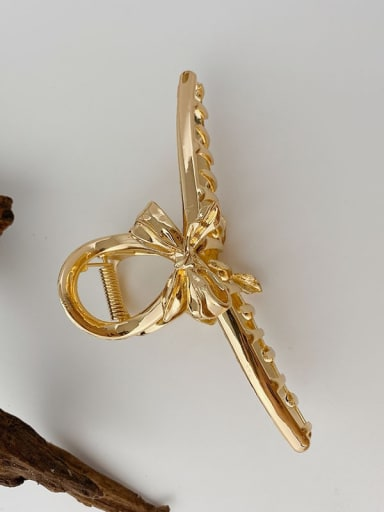 Ribbon bow gold 11.3cm Alloy Hip Hop Bowknot  Jaw Hair Claw